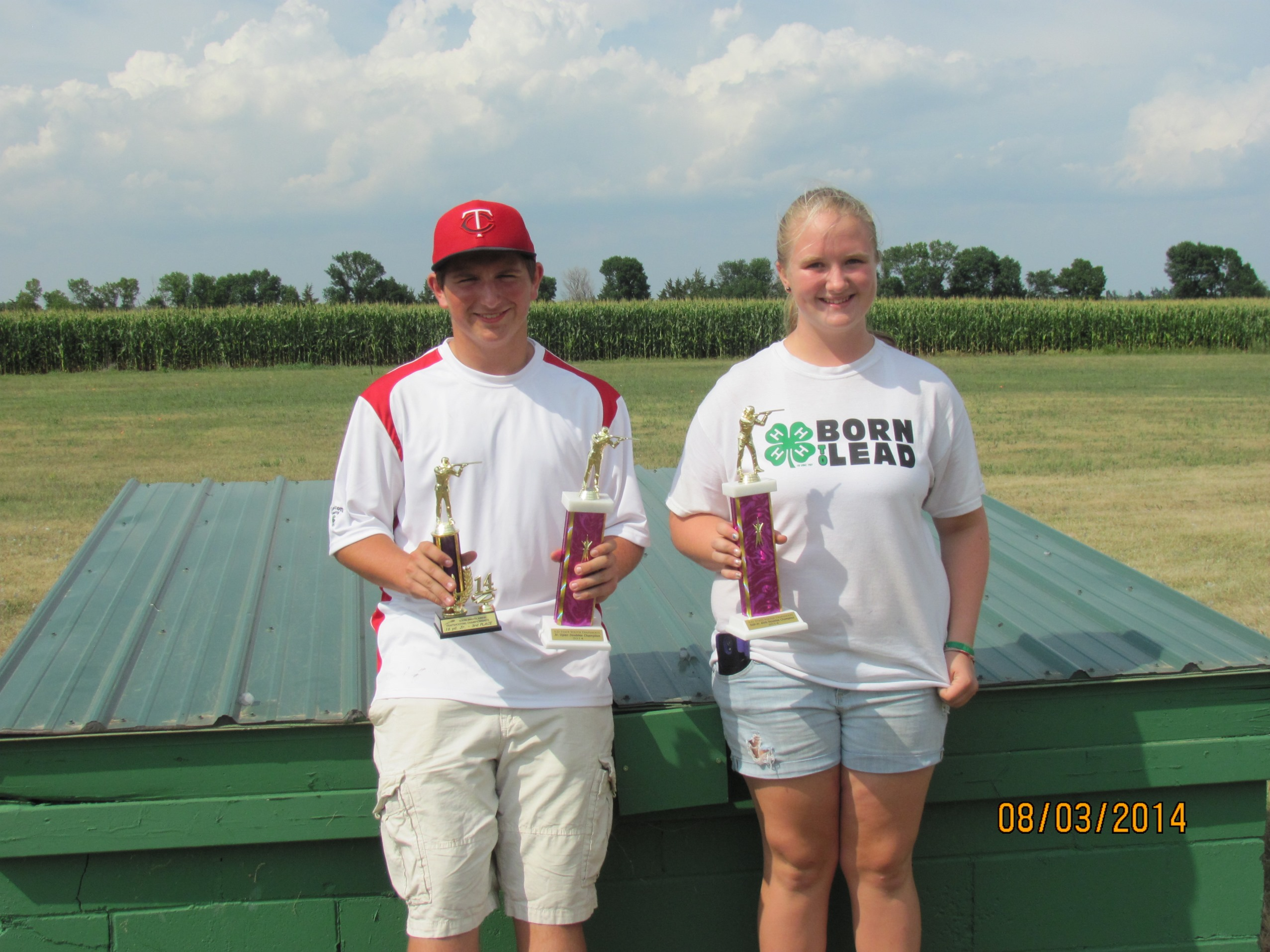 Nathan and Shelbi with trophies Aug 2014